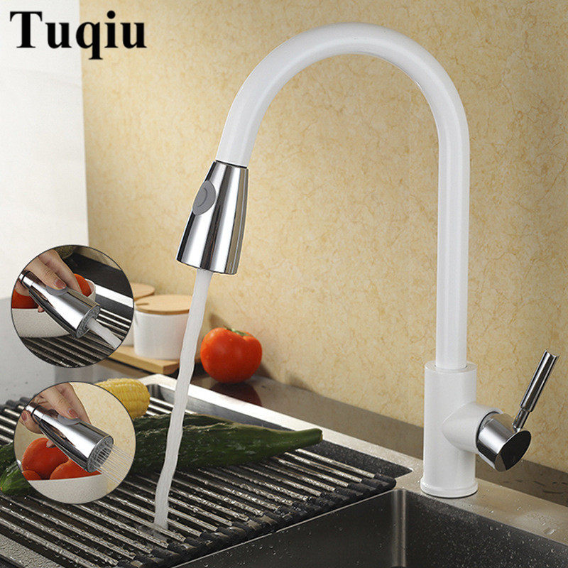 Sink Faucet Kitchen White Finished Brass Kitchen Basin Faucet Pull Out Spring Spout Mixer Tap Single