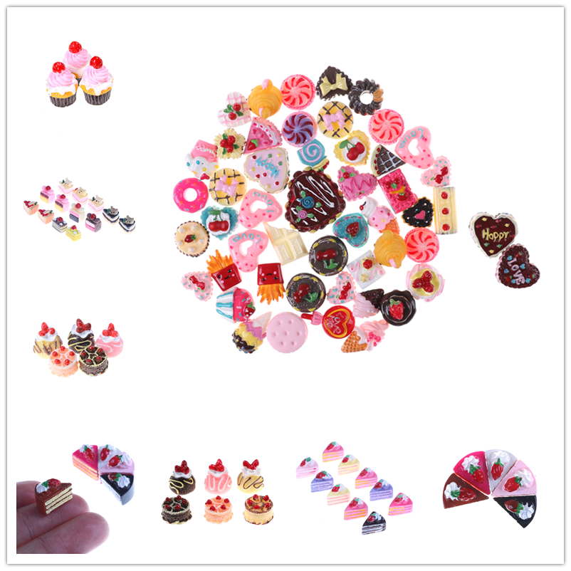 Dolls DIY Accessories Colorful Dollhouse Dolls Miniature Pretend Toy Mini Play Food Fruits Strawberry Cake Biscuit Donuts