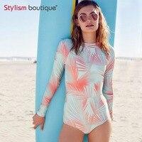 2018 New Summer Beach Surfing One Piece Long Sleeve Swimwear Leaf Print Rash Guard Bathing Suit Surf Swimsuit Rashguard