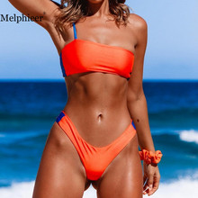 цена на Orange Bikini 2019 Swimsuit Women Swimwear Thong Bikini Sexy Bathing suit Women Bather High Cut Bikini Set Swim Wear Bikinis