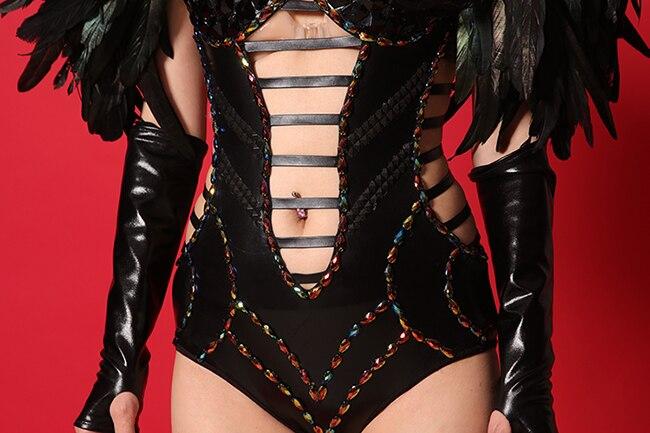 Dj Strass Tenue Body Scène Femelle Noir Performance Ds De Discothèque Costumes Plumes Combinaisons Chanteur Cristaux Bar Sexy P8nX0Okw