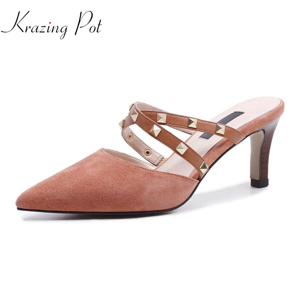 Krazing Pot fashion slip on hollow stiletto thin high heels European movie star summer sandals women rivets decoration mules L13 denim zipper hollow worn stiletto womens sandals