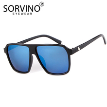 SORVINO Blue Mirror Slim Square Sunglasses Women Men Brand D