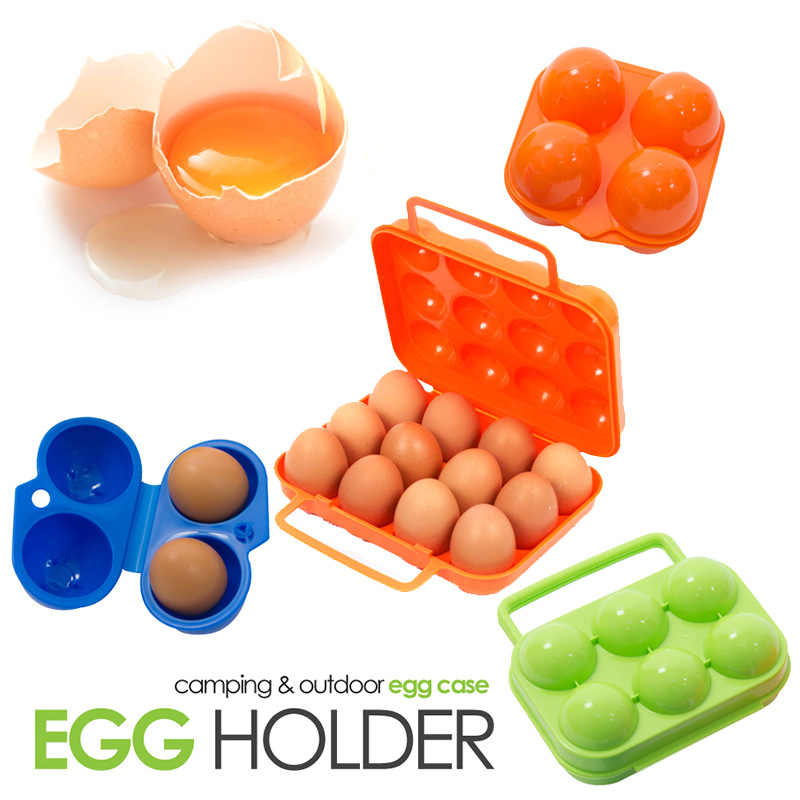 2/4/6/12Grid Egg Holder Travel Outdoor Camping Plastic Egg Case Container Portable Egg Organizer Kitchen Storage Box