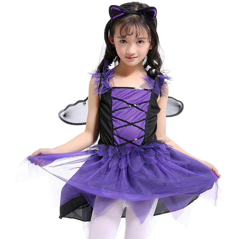 2018 High Quality Kids Bat Costume Halloween Party Girls Bat Princess Dress School Stage Show Costume