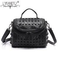 LYKANEFU Brand Women Messenger Bags Tote Purse Genuine Leather Handbag Rivet Bag Rock Style Crossbody Bags Bolsas Femininas