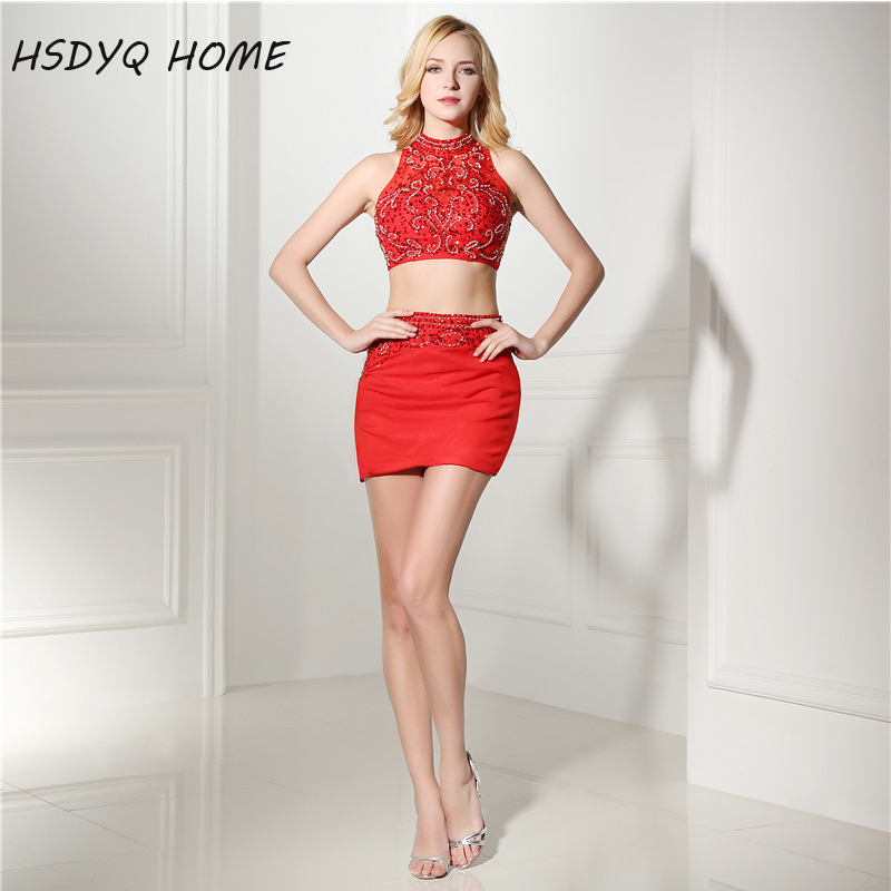 HSDYQ HOME Two Piece Red Prom Dresses with Rhinestones Beaded Crystals cheap Party dress