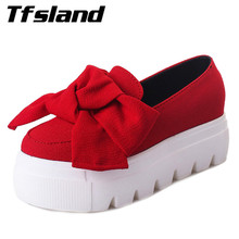 Tfsland Women Moccasin Soft Thick Sole Creepers Shoes Female Bow Breathable Flats Height Increasing 5CM Walking Shoes Sneakers