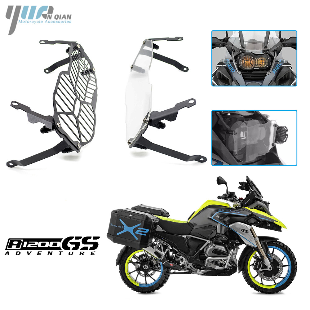 YUANQIAN Black & clear Motor Headlight Grille Guard Cover Protector For BMW R1200 GS R1200GS ADV Adventure  2013 2014 2015 2016 motorcycle radiator grill grille guard screen cover protector tank water black for bmw f800r 2009 2010 2011 2012 2013 2014