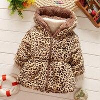2016 Fashion Baby Leopard Windproof Snowsuit Coat Autumn Winter Children Outerwear Hooded Jacket Baby Girls Faux