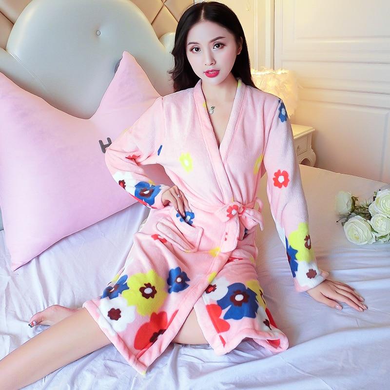 hot sale 2018 Winter Bathrobe Women Bath Flannel Warm Hooded Robe Sleepwear  Womens Robes Coral Velvet Thicken Nightgowns-in Nightgowns   Sleepshirts  from ... d37eed9c0