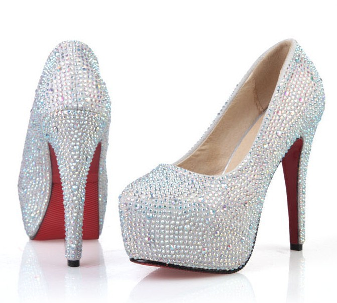912c9111c4c4 New Fashion 2013 Women s Silver Rhinestone Prom Pumps High Heel Crystal  Brand Glitter Sparkly Platforms Silver Red Bottom 14cm-in Women s Pumps  from Shoes ...