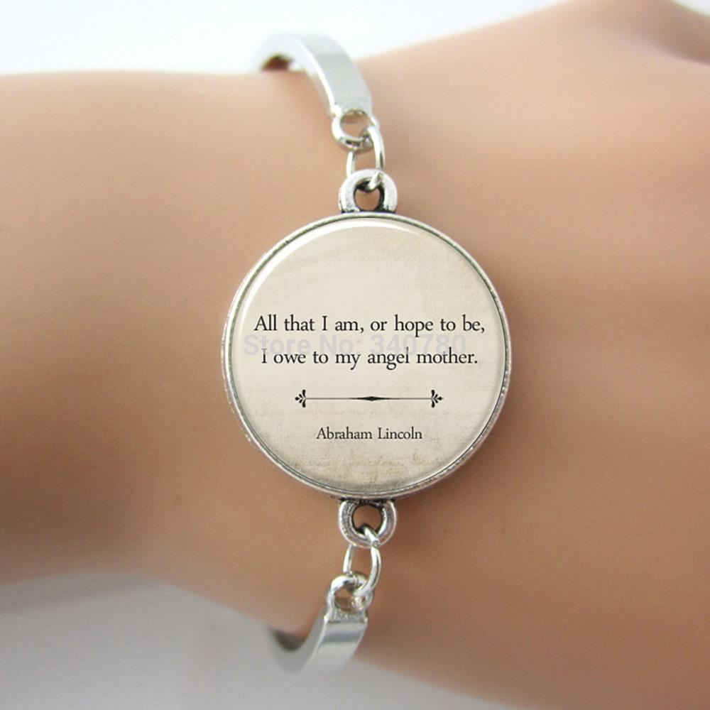 Inspirational quote braceletmothers day ift all that i amor inspirational quote braceletmothers day ift all that i amor hope to bei owe to my angel mother abraham lincoln l13 in bangles from jewelry negle Image collections