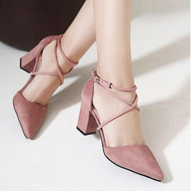 2017 Lady Por Office Daily Wearing Sandals Women Block High Heels Suede Leather Shoes Pumps Pointed