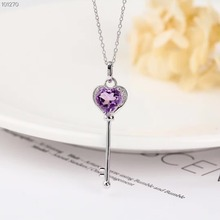 gemstone jewelry luxury classic 925 sterling silver plated purple crystal amethyst charm pendant necklace