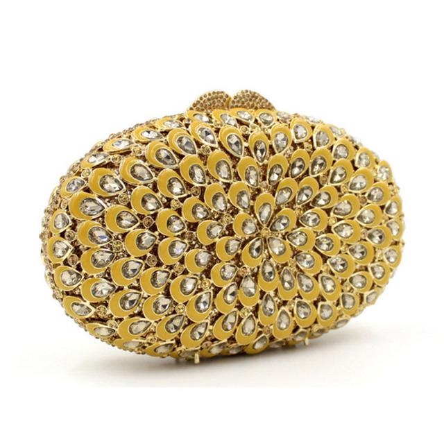 XI YUAN BRAND women High-end luxury Drip wax diamonds dinner bag Hollow crystal Bridesmaid Handbags Party Purse Wedding Bag gold
