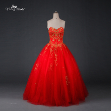 TW0194 Red Wedding Dress Gold Embroidery Sweethearted With Beading Ball Gown Pakistani Wedding Dresses