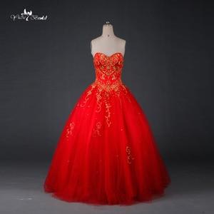 Image 1 - TW0194 الأحمر الزفاف اللباس الذهب التطريز Sweethearted مع الديكور الكرة ثوب فساتين الزفاف الباكستاني