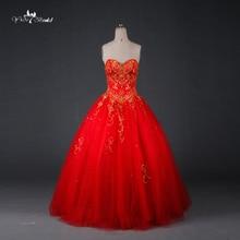 Tw0194 레드 웨딩 드레스 골드 자 수 구슬 공 가운 파키스탄 웨딩 드레스와 sweethearted
