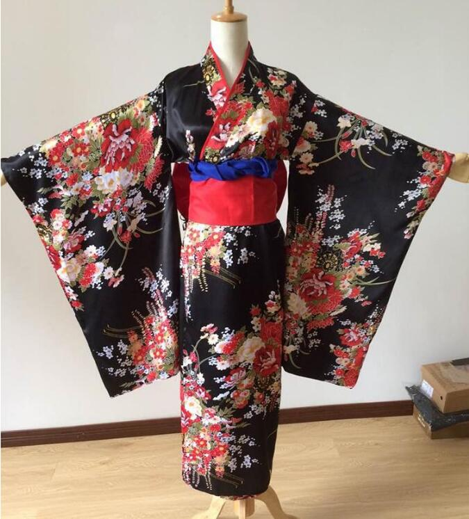 Kimono japonais traditionnel fille Geisha fille cosplay enfer fille cerise costumes