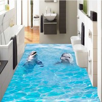 Free Shipping 3D stereo two dolphins ocean Self adhesive Toilets bathroom flooring aisle lobby wallpaper mural