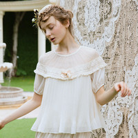 Spring Summer Lace Translucent Strapless Handmade Tassel Plate Pleated Bow Short Sleeve Beige Top