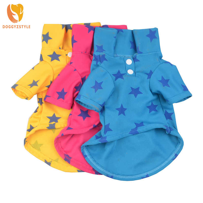 DOGGYZSTYLE Pet Dog Polo T-shirt Leisure Warm  Clothing for Chihuahua Teddy Star Printed Shirt Coat  Costume For Spring Summer