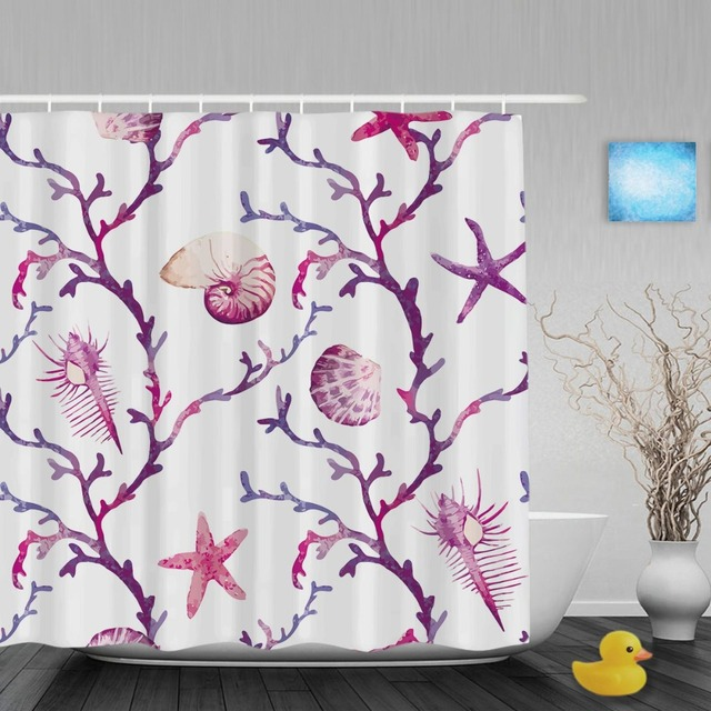 Wonderful Watercolor Corals Decor Bathroom Shower Curtain Shell Starfish Sea Animals  Shower Curtains Waterproof Polyester Fabric With
