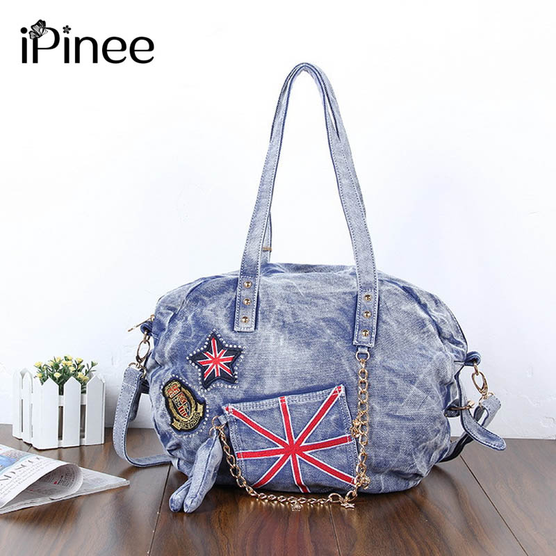 цены iPinee 2017 Vintage Fashion Women Bag Lady Large Capacity Handbag Joker Denim Shoulder Bag Cool Punk Jeans  Tote Bolsas