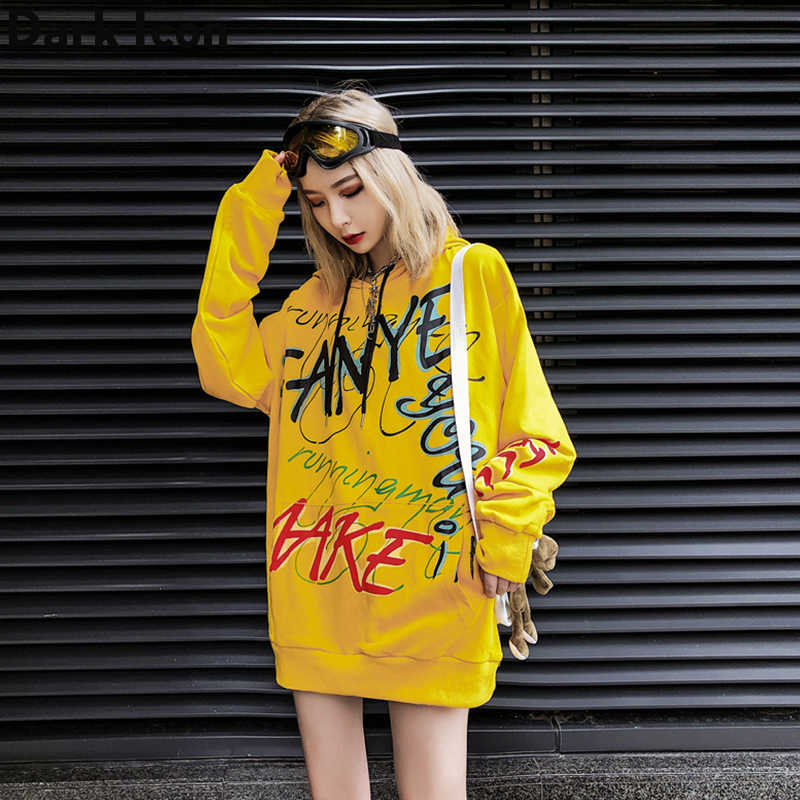 Graffiti Hip Hop Women's Hoodie 2019 Autumn High Street Hoodies Women Sweatshirt and Hoodie Streetwear Yellow/Black