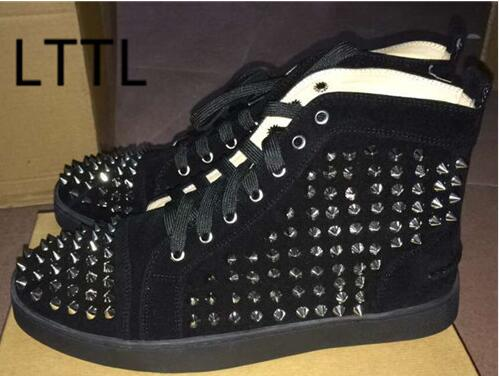ФОТО New Arrival 2017 LTTL Spring Fashion Rivets Cause Shoes Men Flat With Shoes Spike Studded Lace Up Hot Selling
