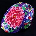 Novedad bordado algodón cap sombrero de la flor diy creativo de calidad superior floral de las mujeres viseras sombreros