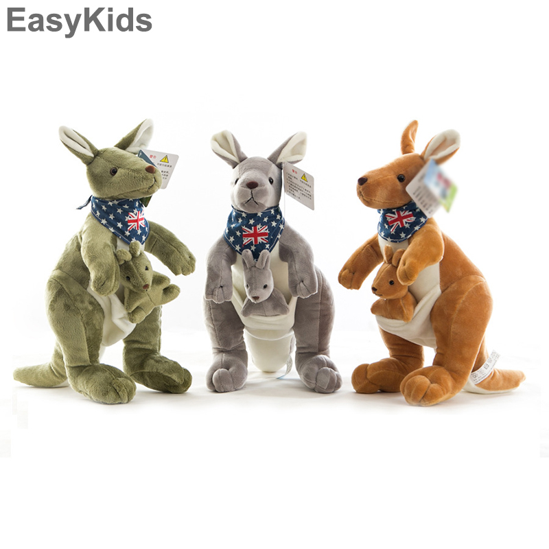 35cm Lovely Mother And Baby Kangaroo Plush Toy Soft Dolls