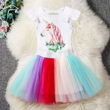2019 Summer New Baby Girls Clothing Sets Infantil Toddler Girls Outfits Children White Shirts + Rainbow Skirts 2pcs 2 3 4 5 6 Y цена 2017
