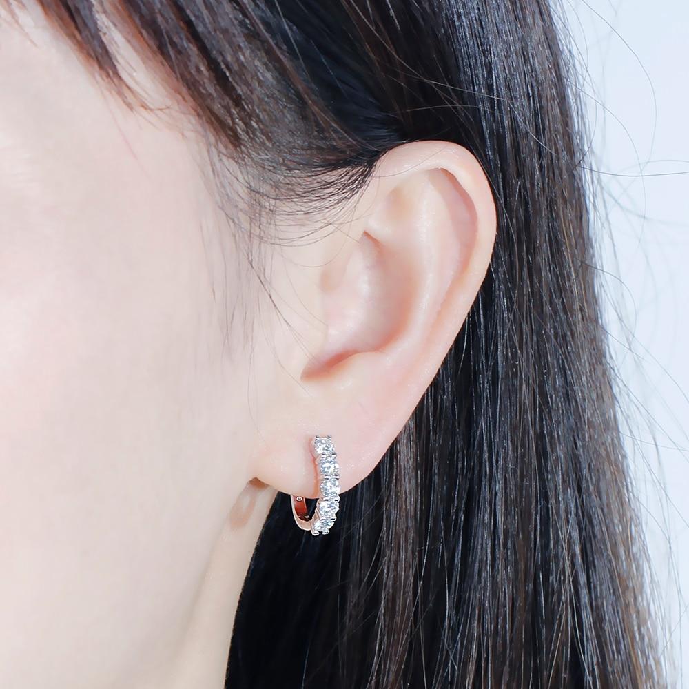 Image 5 - DovEggs Solid 14k 585 White Gold Huggie Earrings for Women Wedding Gift 1CTW 3mm Moissanite U Shape Hoop Earringsjewelry gold earringsjewelry earringsjewelry diamond earrings -
