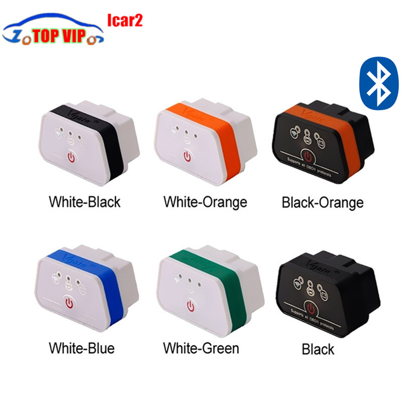 50pcs/lot Work on Android torque Vgate iCar2 bluetooth obd2 scanner tool icar 2 code reader super mini elm327 vgate scan by DHL