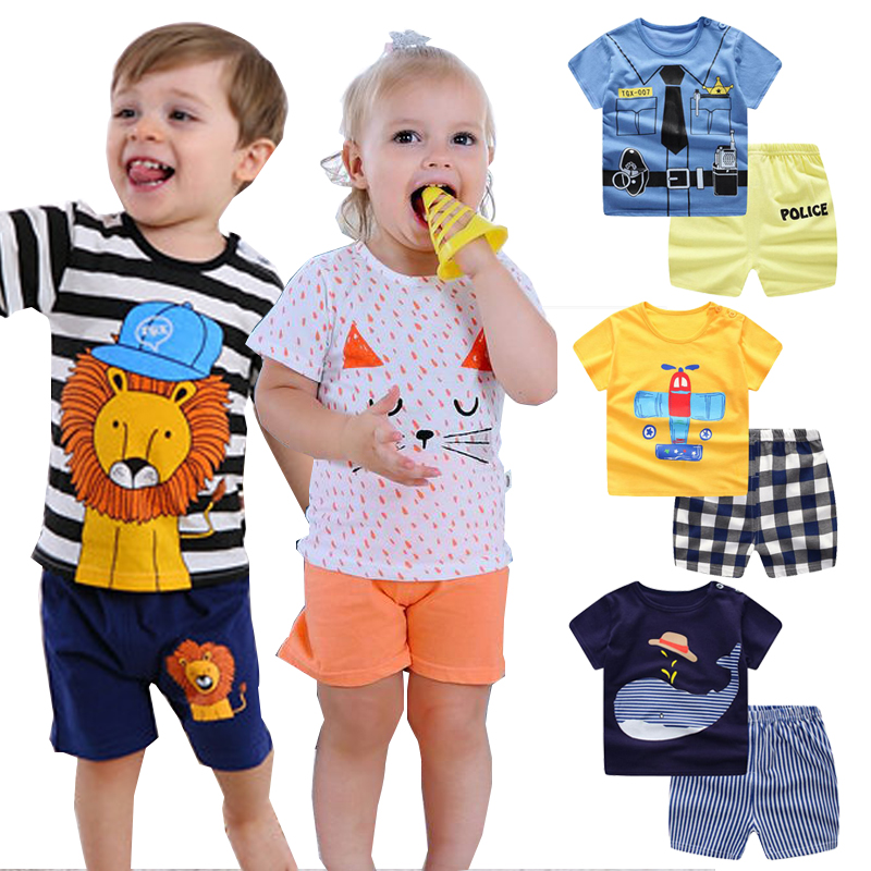 HH kids toddler boy summer Cartoon striped shirt Pants