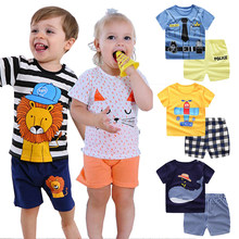 kids toddler boy summer clothes Cartoon striped shirt +Pants Baby girl outfit Infant Sport Suits tracksuit children clothes(China)
