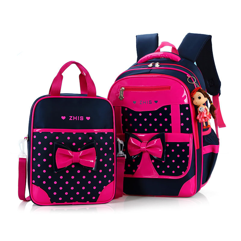 2PCS/set High quality girl 3D child school bag kids 8-15 years students Free doll waterproof backpack travel large capacity bag