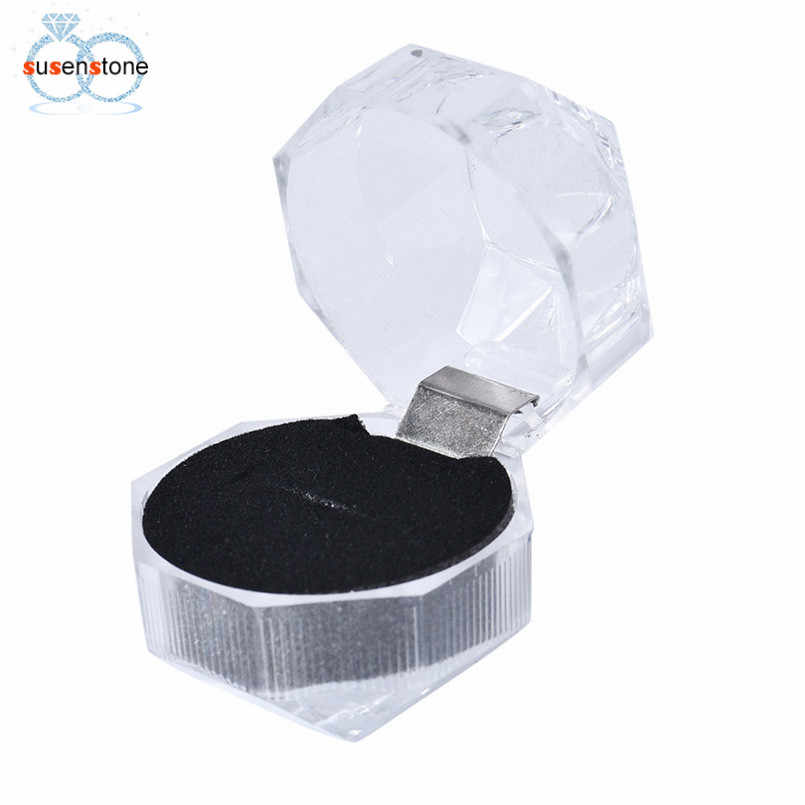 SUSENSTONE Wholesale Acrylic Ring Earring Box for Jewelry Packing Display Holder Carrying Cases for Ring Transparent Gift Box #0