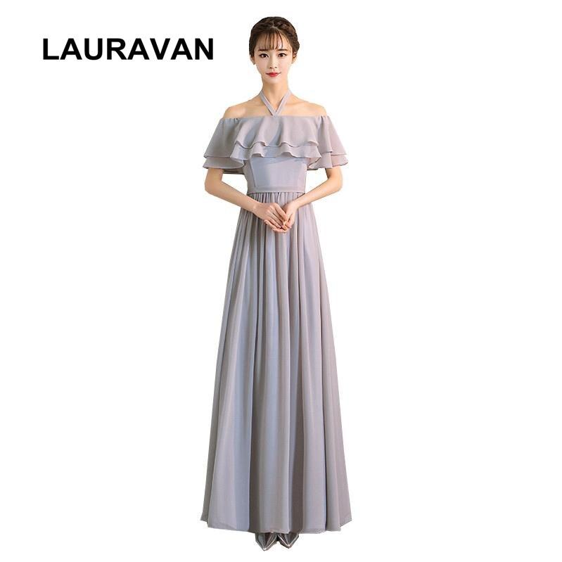 robe de soiree elegant simple grey women long chiffon girl halter off shoulder party dress bridesmaid elegant dresses 2020