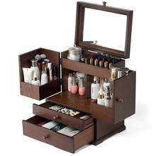 Tocador, pendientes, cosméticos, joyería, caja receptora todo en uno, a prueba de polvo, celosía de lápiz labial tipo cajón de madera Vintage