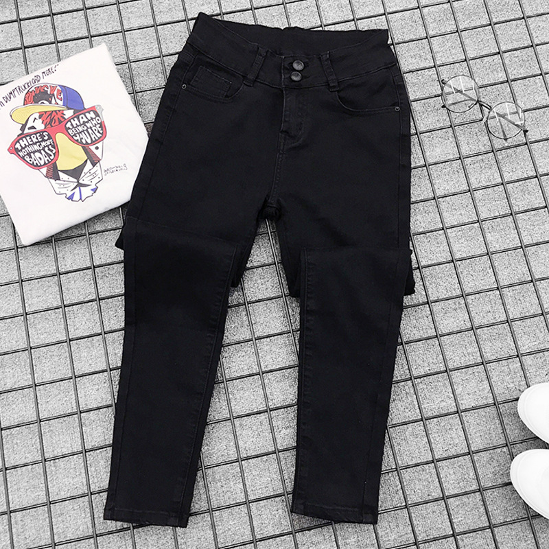 2018 New Fashion Jeans Women Black High Waist Jeans