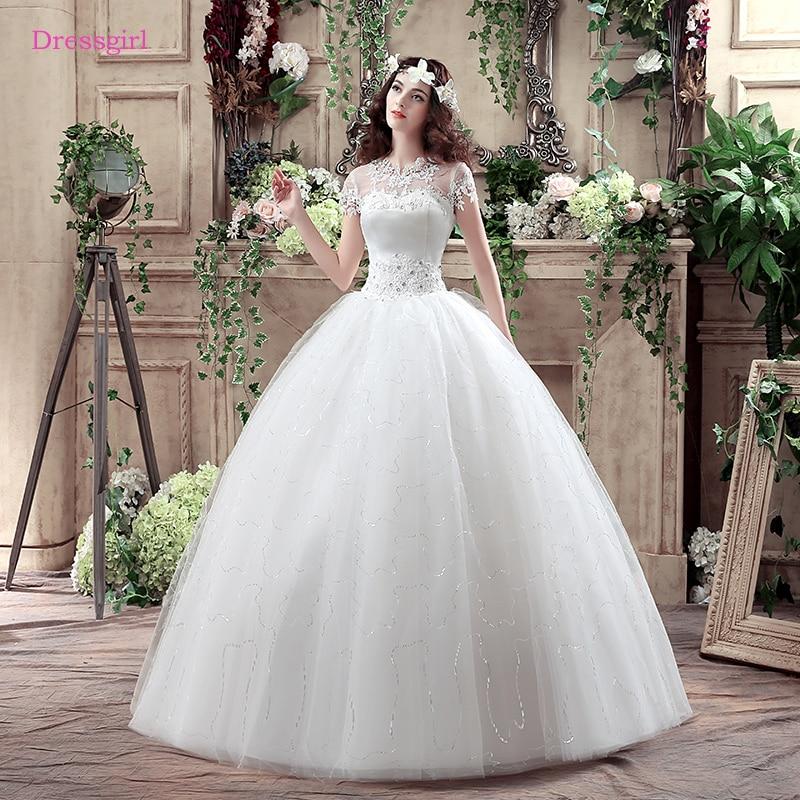 Plus Size Vestido De Noiva 2019 Wedding Dresses Ball Gown Short Sleeves Lace Crystals Boho Cheap Wedding Gown Bridal Dresses