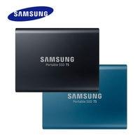 SAMSUNG Портативный SSD T5 серии USB 3,1 Gen2 (10 Гбит/с) внешний твердотельные накопители 250 ГБ/500 ГБ/1 ТБ/2 ТБ ударопрочность безопасного хранения
