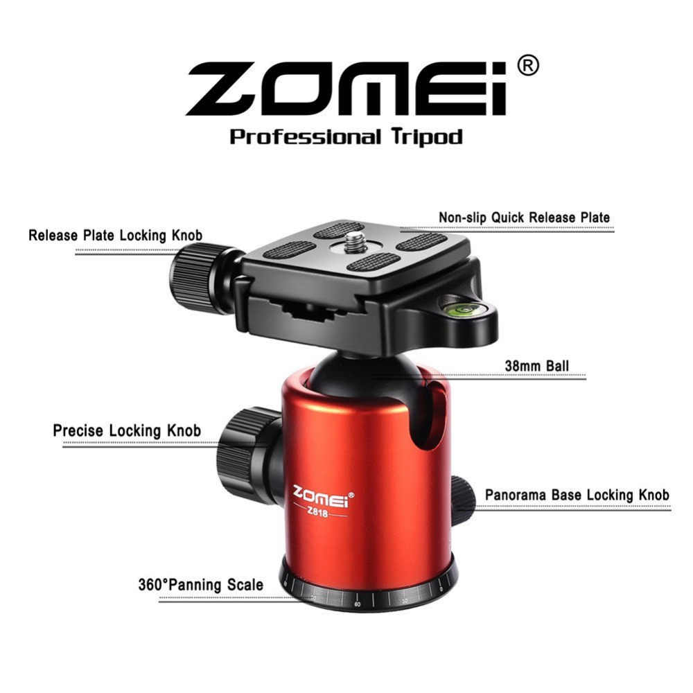 Zomei Z818 Сверхмощный Профессиональный портативный магниевый алюминиевый штатив для путешествий монопод для цифровых зеркальных фотокамер