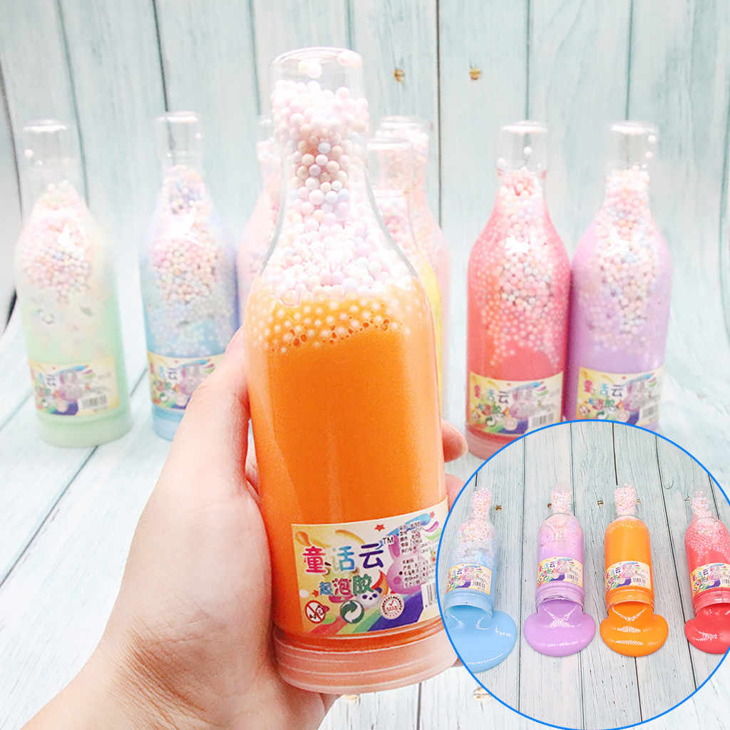 200ML Slime Crystal Fluffy Toys DIY Slimes Cloud Glue Soft Clay Beads Foams Light Plasticine Antistress Toys Kids Slime Bottle