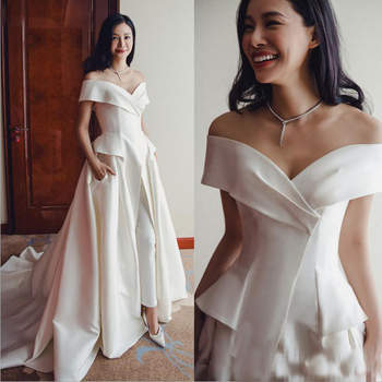 Elegant White Jumpsuit Evening Gowns 2019 Off Shoulder Ladies Party Occasion Prom Dresses Pant Suits Long Formal Dresses formal wear