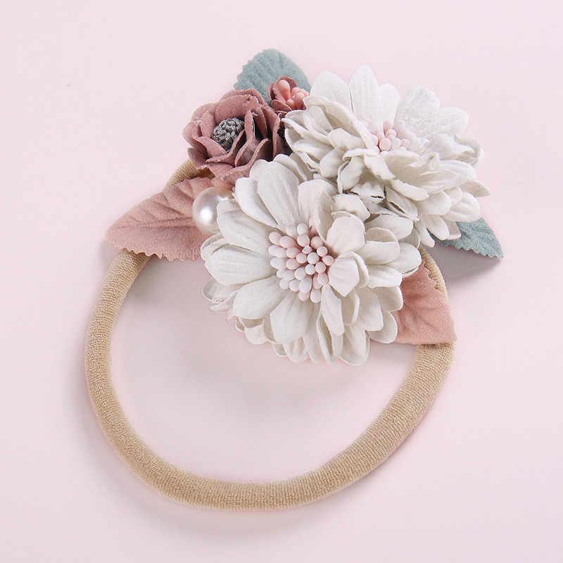Diademas florales para bebé niña recién nacido diademas de princesa elásticas niños flor perla estilo fresco accesorios bonitos para el pelo