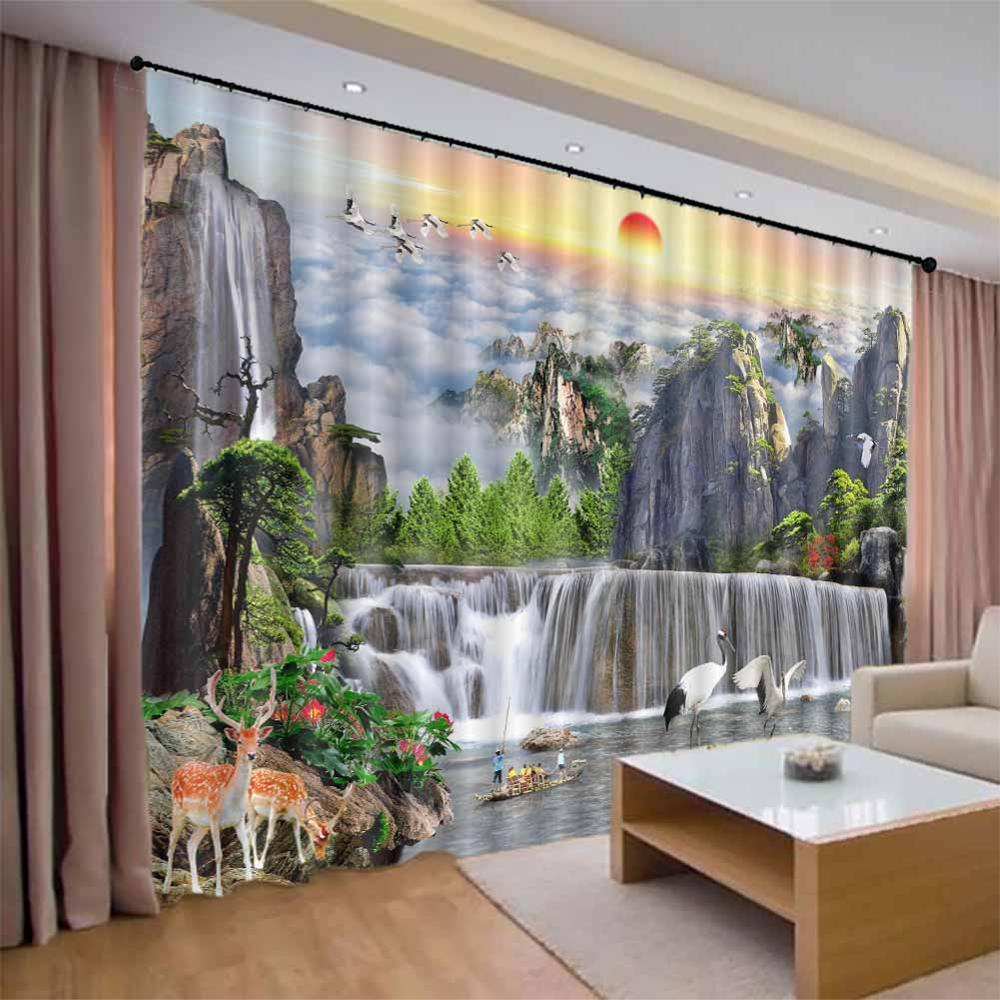 Paysage peinture 3D fenêtre Rideaux salon chambre Rideaux Rideaux usine taille personnalisée douche ombre tissu